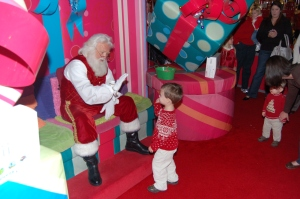 Ryan Giving Santa a High Five! Owen is Holding Back....